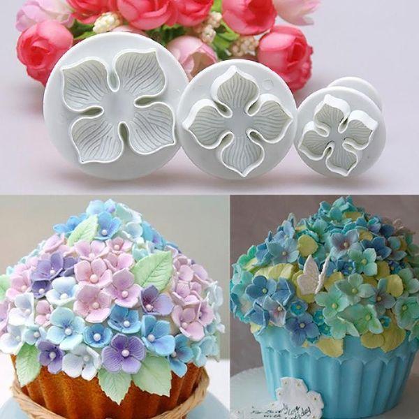 3Pcs/Set Hydrangea Fondant Cake Decorating SugarCraft Plunger Cutter Flower Mold ZH163