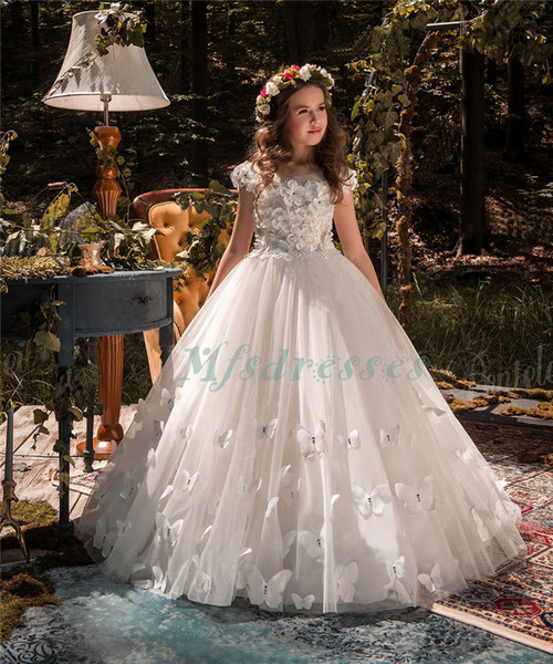 2017 New Princess White Flower Girl Dresses Girls Pageant Bow Dress First Communion Dress For Girls Birthday Gowns Kids Prom Evening Dresses