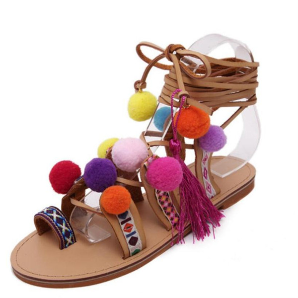 Wholesale-Roman Sandals China Embroidery Pompon Knee High Strappy Sandals Summer New Women tassel Sandals Gladiator Leather Shoes Woman