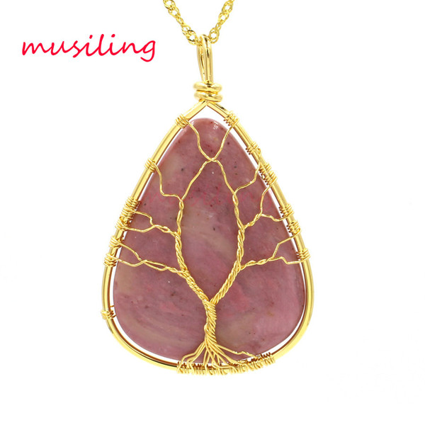 Water Drop Tree of Life Pendant Necklace Chain Pendulum Natural Stone Reiki Wicca Witch Amulet 18K Gold Plated Fashion Jewelry