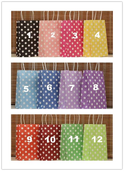 12 Colors (21X13X8)Festival gift package Polka dot kraft paper bag Fashionable gift paper bag
