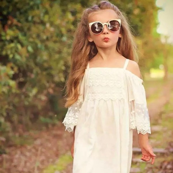 7Baby Girls Tulle Lace Dresses Kids Girls Princess tutu Party Dress Girl Summer Dress Summer Clothing Clothes Hollow Out shoulder Cute dres