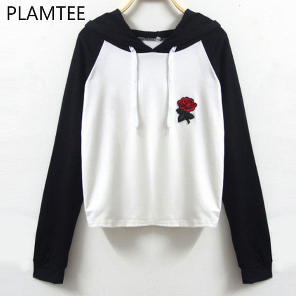 Wholesale- PLAMTEE Women Floral Embroidery Hoodies Autumn Casual Hit Color Hooded Sweatshirt College Preppy Women Clothes Female Tracksuit
