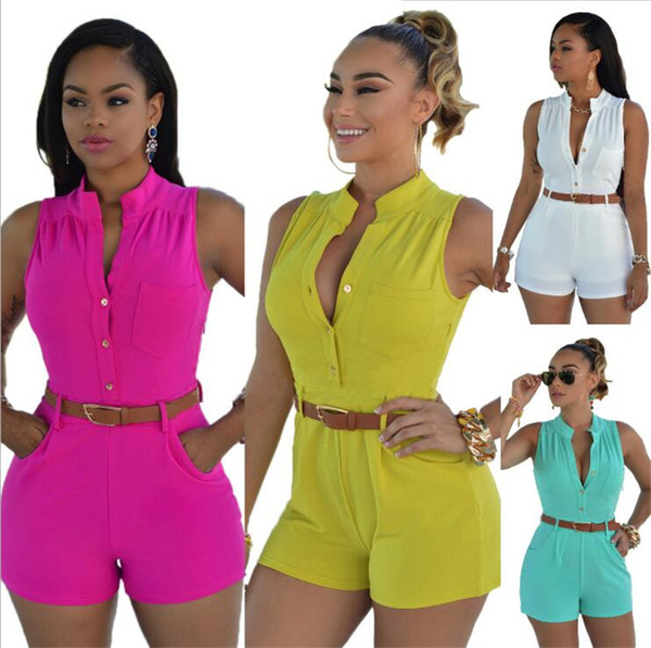 New Casual Regular Women O Neck Club Wear Buttons Closure Rompers Sleeveless Short Jumpsuits Mini Bodysuit Jumpsuit with Belt YD2198