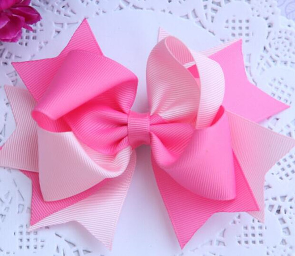 14cm Ribbon Bows with Clip solid color bows clip baby hair bow boutique hair accessories girls hair clips 3 inches