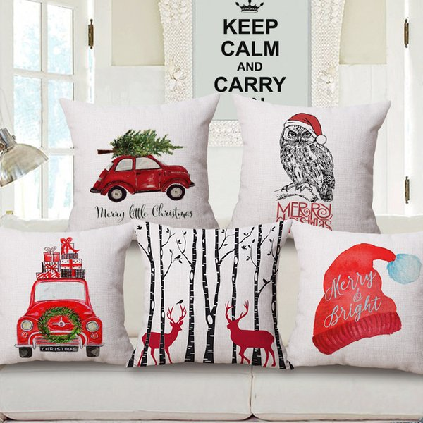 best selling 12 Styles Merry Christmas Cushion Cover Colour Paintings Reindeer Elk Tree Red Car Hat Cushion Covers Decorative Linen Beige Pillow Case