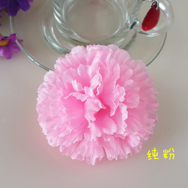 100Pcs 9CM Artificial Carnation Decorative Silk Flower Head For DIY Mother's Day Flower Bouquet Home Decoration Festival Supplies Party Deco