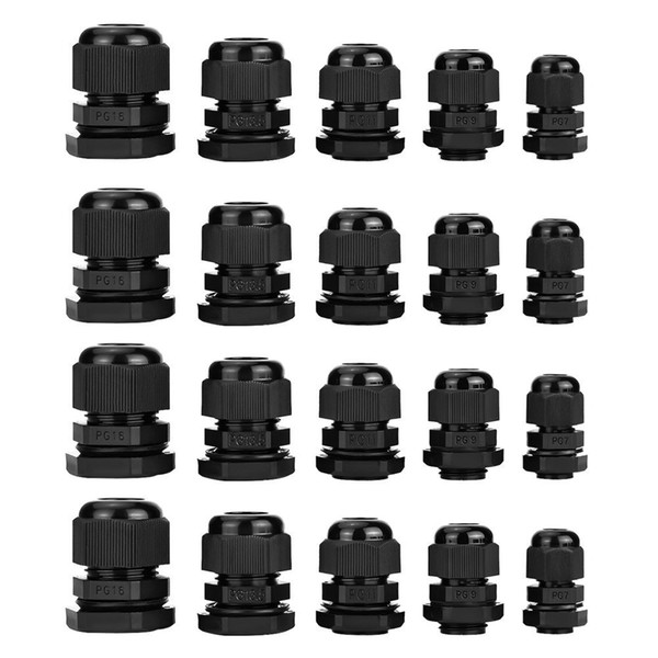 best selling Black Plastic Waterproof IP67 Adjustable Cable Gland Cord Grip Connector Joints 3.5 - 13mm Assortment, PG7, PG9, PG11, PG13.5, PG16