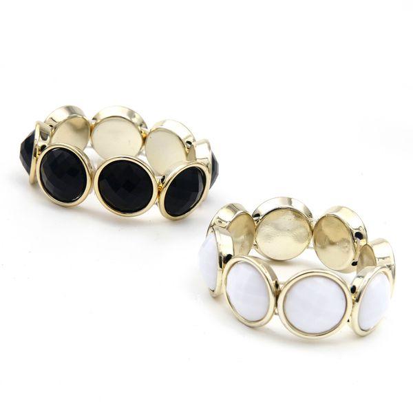 Wholesale-Sunshine adjustable fashion round black and white gem bracelets Adjust golden Bangle new jewelry for women gift hot sale