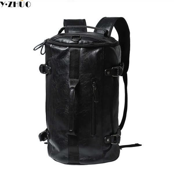 5ad690de49 Wholesale- Y.ZHUO high quality leather man backpacks unisex vintage duffel  bag large capacity shoulder Laptop bag men messenger travel bag