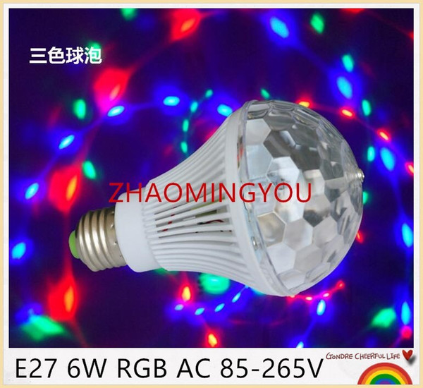 YOU E27 6W RGB 85-265V High Power Colorful Auto Rotating RGB projector Crystal led Stage Light Magic Ball DJ party disco effect B