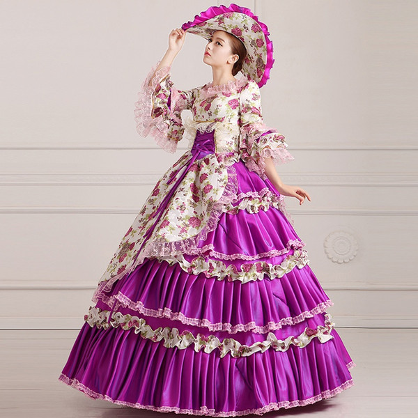 2016 Elegant Purple Floral Print 18th Century Marie Antoinette Ball ...