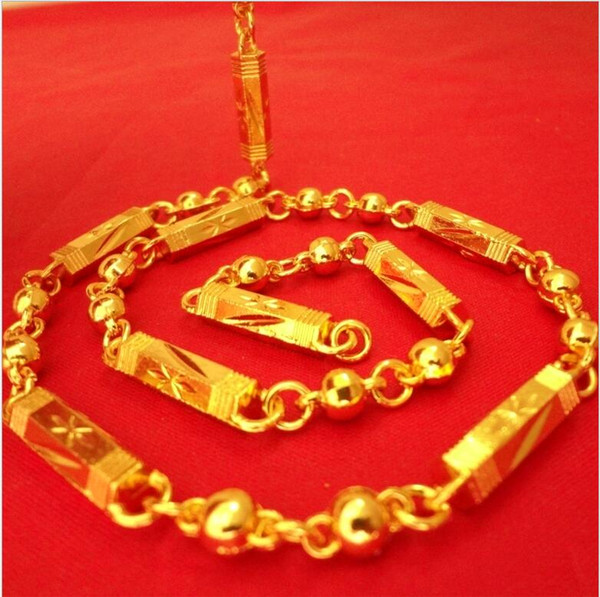 11 Designs High Imitation Gold Men Necklace 18K Gold Plated Pillar Dragon Olive Beads Chains Necklace 10pcs lot