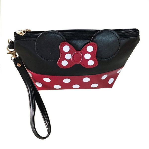 Wholesale- 2017 Women PU Leather Butterfly Bow Makeup Bag Wristlet Cosmetics Bags Fashion Small Travel Pouch Free Shipping Top Quality P406
