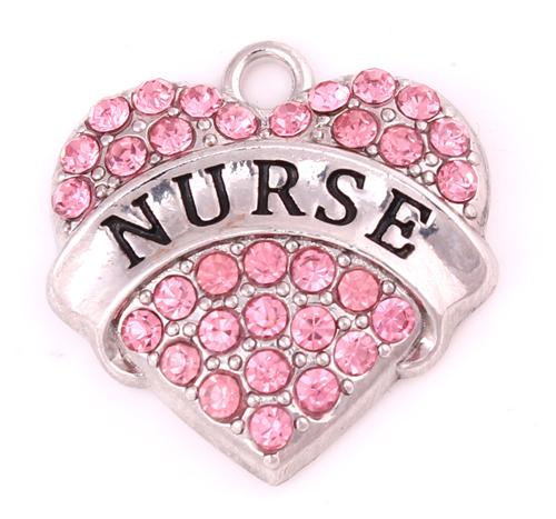 10Pcs/Lot Alloy Mixed Crystal Nurse Pave Heart Charm Nurse Jewelry Making Accessories Women DIY Jewelry Rhodium Plated