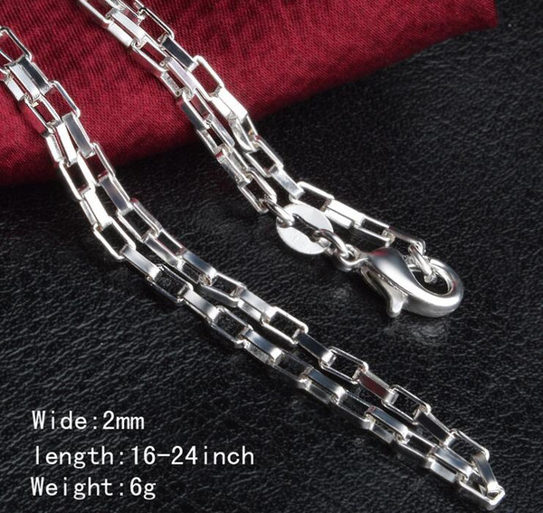Man woman Necklace 925 sterling Silver 2MM long lattice Chain Necklace 16inch/18inch/20inch/22inch/24inch