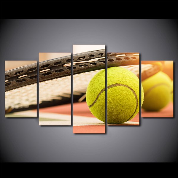 Satin Al 5 Adet Set Cerceveli Baskili Tenis Toplari Tuval Duvar