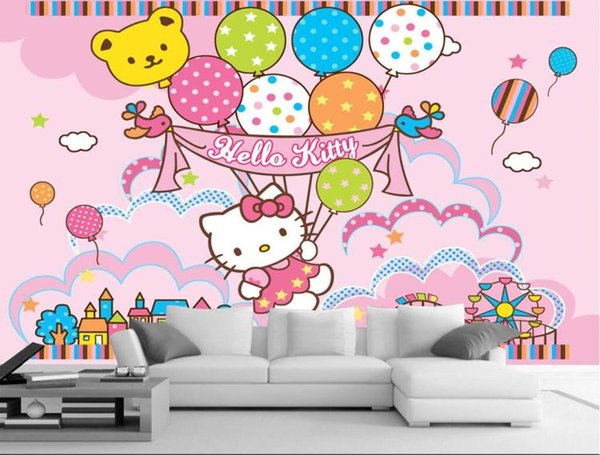 3d Large Frescoes Pink Kitty Hello Kitty Cartoon Wallpaper Wallpaper Mural Princess Bedroom Bedroom Wall Wallpaper Wallpaper Hd Wallpaper Hd Wallpaper