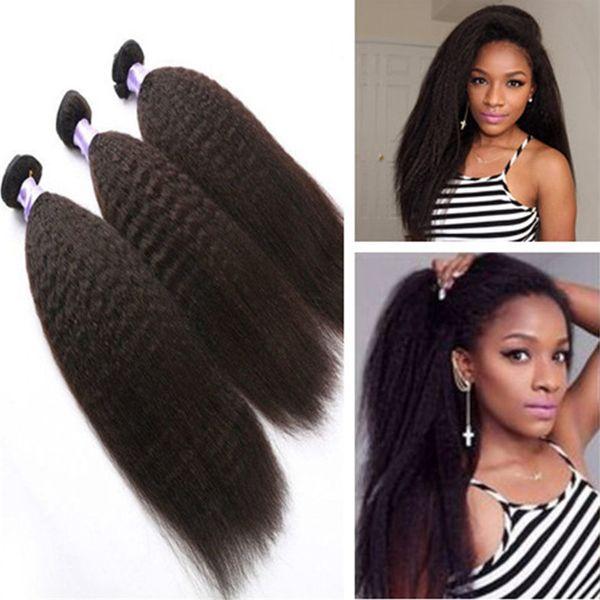 8A Malaysian Kinky Straight Hair 3Pcs Lot,Coarse Yaki Hair Wefts,Natural Black Afro Kinky Straight Weave Italian Yaki Human Hair Bundles