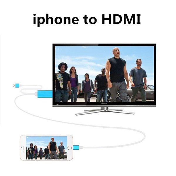 2M 6FT High Speed Aluminum HDMI HDTV AV Cable Audio Cables Connectors Adapter For iPhone 5 5S SE 6 6S Plus/ipad Support HD 1080P Connection