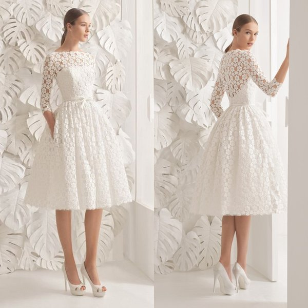 Gorgeous knee length wedding dresses bateau neck a line 3 4 length gorgeous knee length wedding dresses bateau neck a line 3 4 length sleeves floral accent junglespirit