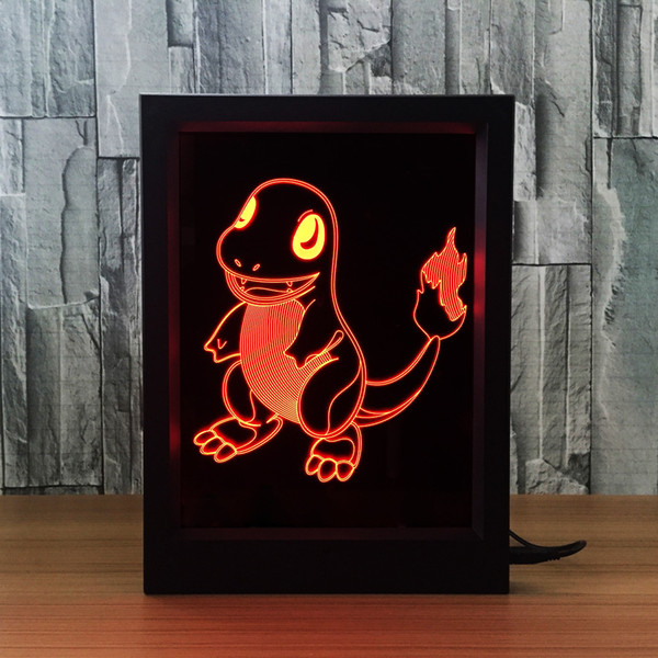 3D Charmander LED Photo Frame IR Remote 7 RGB Lights Battery or DC 5V Factory Wholesale Dropship Free Shipping