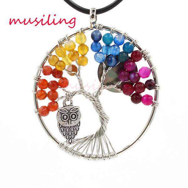 Hayat Ağacı Baykuş Kolye Sarkaç Doğal Taş Yuvarlak Charms Aksesuarları Opal Lapis Lazuli Kristal vb Taş Muska Moda Takı