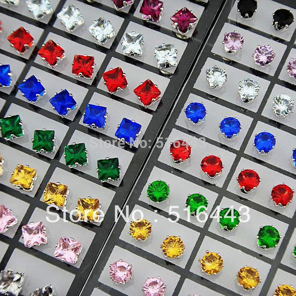 144 adet Charms Mix Renk Kübik Zirkonya Paslanmaz Çelik Moda Kare Yuvarlak Saplama Küpe Bayan Erkek Toptan Takı için Lots
