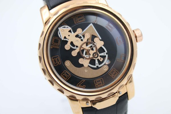 Luxury Brand Black and Golden Hollow Dial White Leather Belt Trend Whatches Golden Stainless Pointer Watches Mens Fashion Wrist Watches
