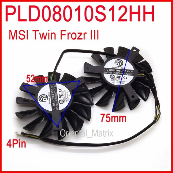 Wholesale- Free Shipping 2pcs/lot POWER LOGIC PLD08010S12HH DC 12V 0.35A 75mm Dual Fans Replacement Video Card Fan MSI Twin Frozr III 4Pin