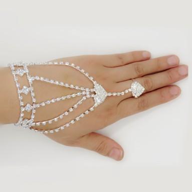 Wedding Heart Harness Bracelet Fashion Women Girl Glitter Heart Rhinestone Hand Bangle Slave Chain Link Finger Ring Bracelet