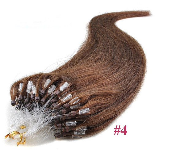 "Grade 7a!!wholesale remy indian Hair 14""-26""1g /s 100g/set #4 light brown Loop/Micro Ring Hair Extension,100% Human Hair Extensions dhl free"