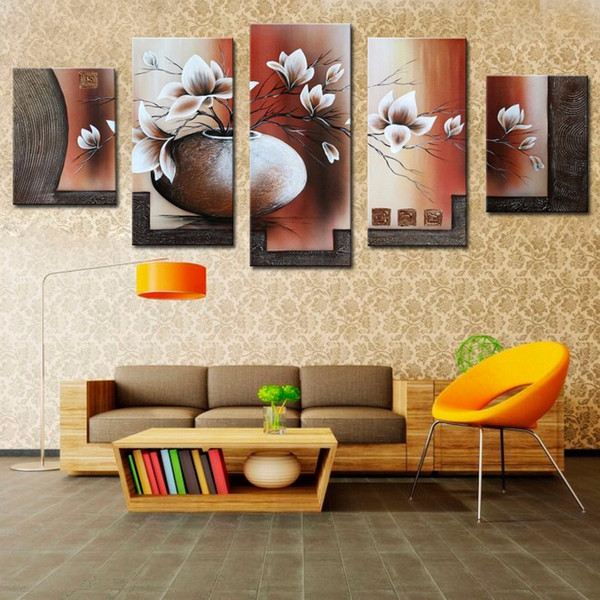5 Pcs/Set No Framed 100% Handmade Beautiful Flower Oil Painting for Dining Room Modern Canvas Art Home Decor Wall Painting