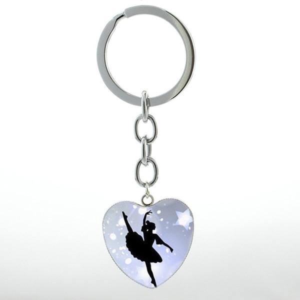 Zarif Bale Dans anahtarlık vintage İrlandalı Dans Jimnastik Dansçı Balerin anahtarlık yüzük Kar Tanesi Noel takı HP145