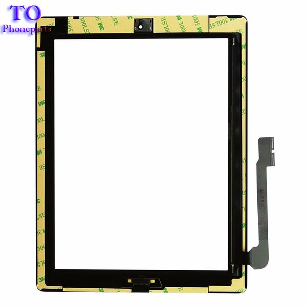 Per iPad 2 3 4 Touch Screen Digitizer Assembly in vetro con adesivo Home Colla Adesivo Parti di ricambio di ricambio Nero / Bianco