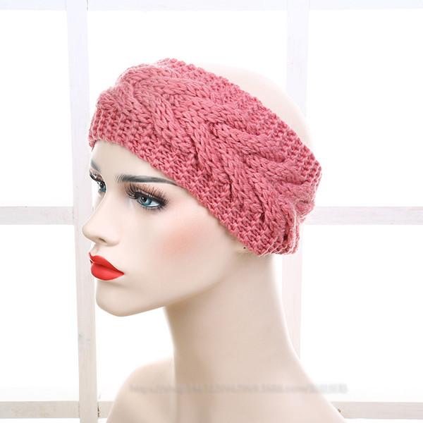 2017 Women Fashion Wool Crochet Headbands 25 colors Knit Hair bands Flower Winter Ear Warmer Wool hair bands dhl free shipping