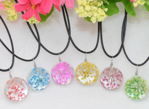Brand new Explosive handmade plants dried flowers necklace lace flower glass ball pendant WFN315 (with chain) mix order 20 pieces a lot