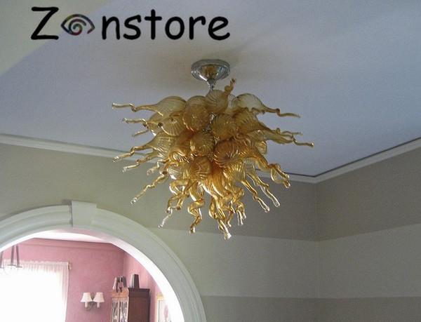 Séjour Ambre PlafonDécor Lustre Lampe Flush Bouche montée en verre soufflé bulles LED d'éclairage de plafond