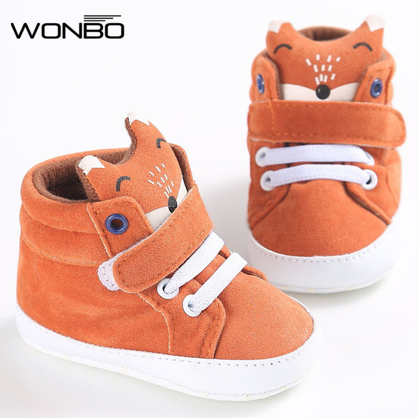 Wholesale- winter baby shoes Cotton Cloth kids Girl Boys Fox High Help first walker Canvas Sneaker Anti-slip Soft Sole Toddler footwear