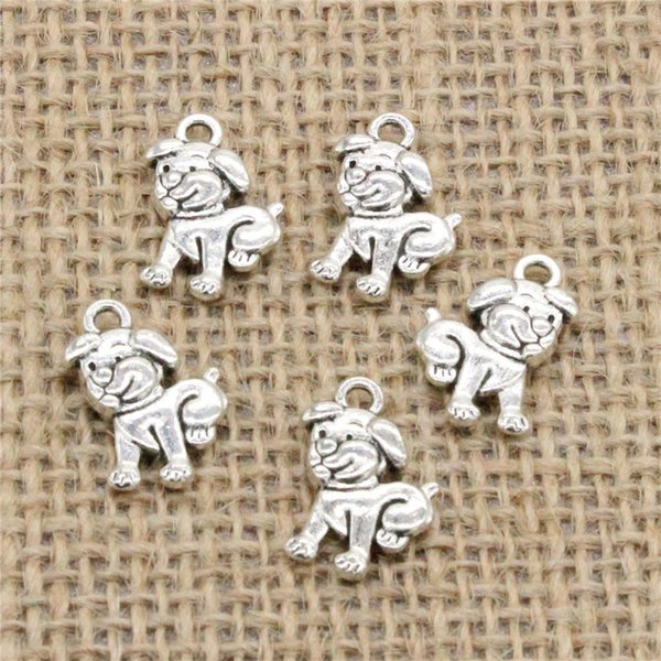 Wholesale 90pcs Charms Tibetan Silver Plated double sided lovely dog 17*12mm Pendant for Jewelry DIY Hand Made Fitting