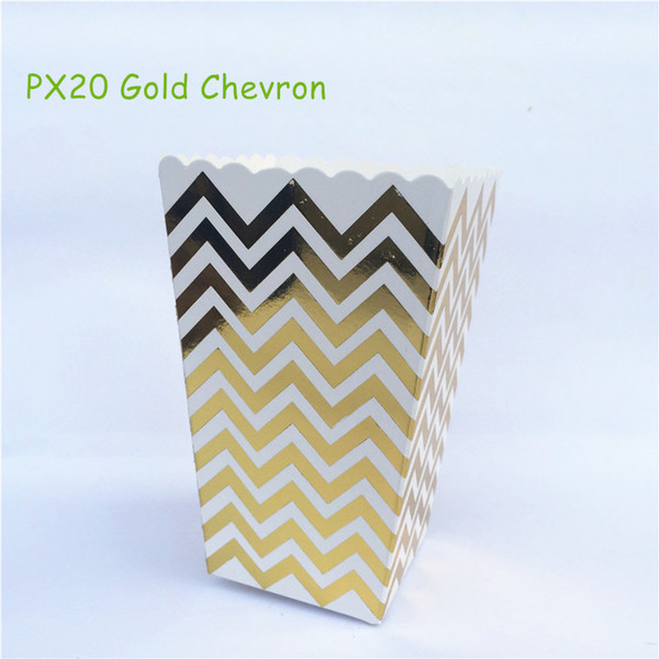 Wholesale-12pcs/lot Metalic Gold Chevron Paper Popcorn Boxes Pop Corn Favor Bags for Candy Snack Wedding Birthday Party Tableware Supplies
