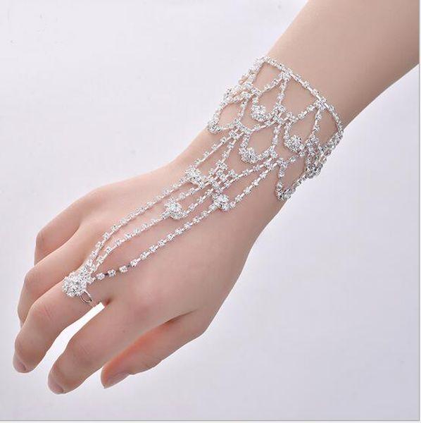 Glänzende Kristall Braut Armband Hochzeit Schmuck Hand zurück Kette Ring One Water Drops Armband Fußkettchen gemeinsame Damen Braut Accessoires