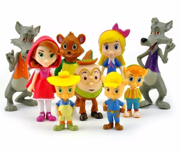 9pcs/set Junior Goldie and Bear Little Red Riding Hood Pigs Wolf Forest Friends PVC Action Figure Doll Figurine Toy Cake Topper