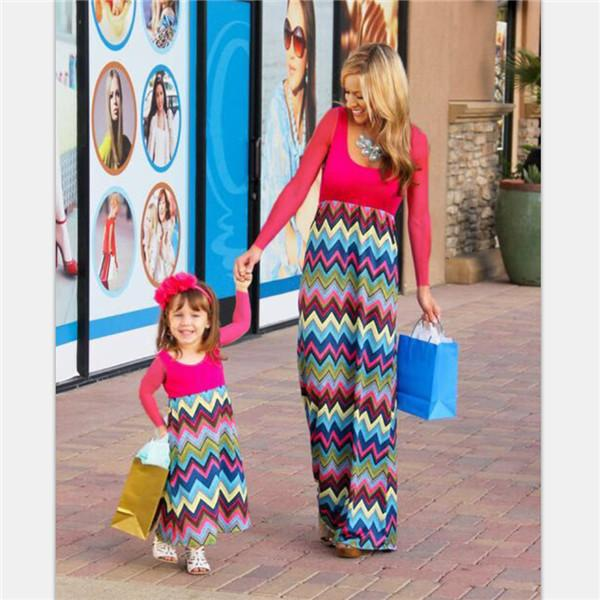 best selling Mother Daughter Dresses Fashion Long Sleeve Striped Family Look Matching Clothes Cotton Mom And Daughter Dress Family Clothing