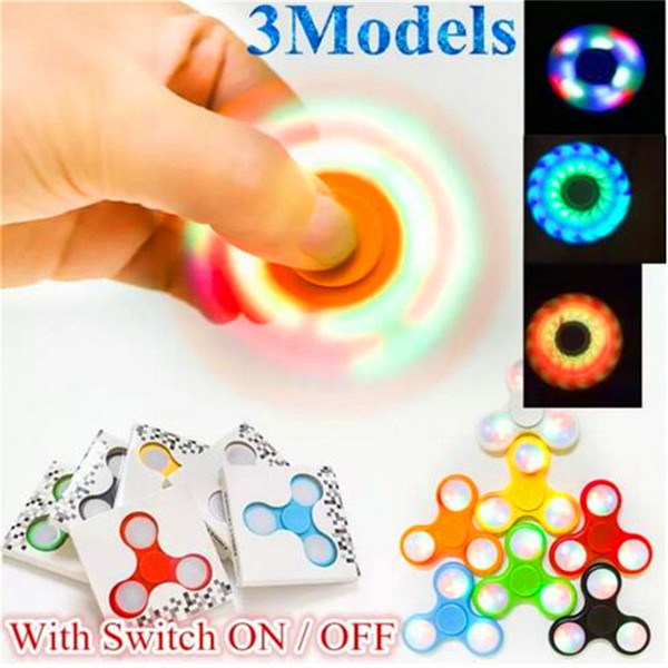 LED Light Hand Spinner Fidget Spinners With Switch On Off Triangle Finger Spinner EDC Rainbow Decompression Fingers Fidget Tops Gyro Toys