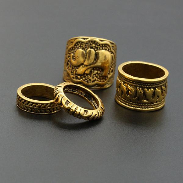 4PCS/Set Fashion Vintage Bohemian Turkish Carved Midi Ring Set Stacking Punk Ring Elephant Snake Knuckle Rings