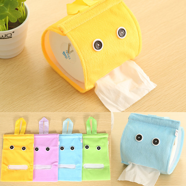 Wholesale-Free Shipping Plush Cloth Tissue Box Case Holder Toilet Paper Cover bathroom/office/car/restaurant Hanging paper towel tube
