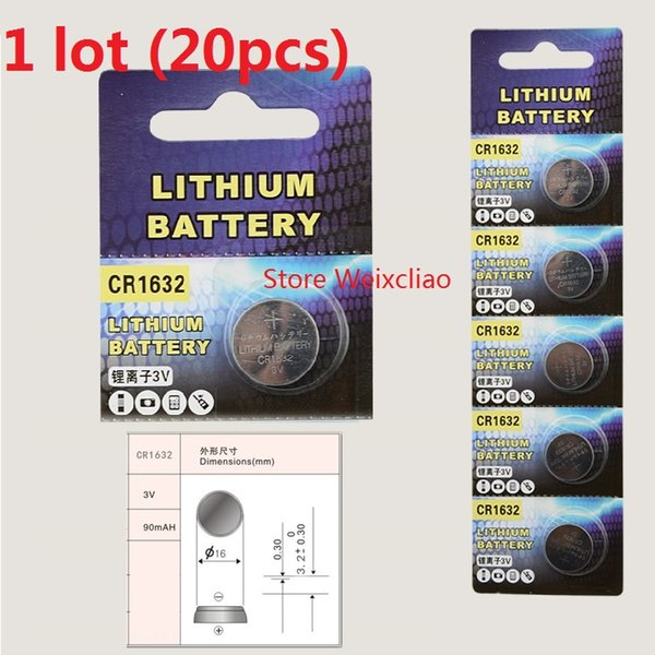 20pcs 1 lot CR1632 3V lithium li ion Button Cell Battery CR 1632 3 Volt li-ion coin batteries Free Shipping