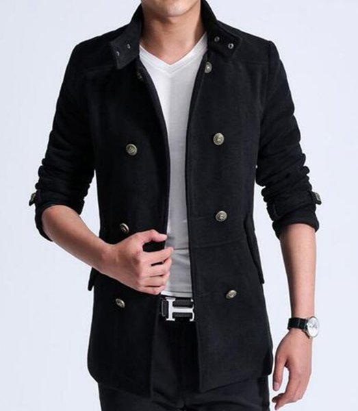 Men qiu dong han edition fashion in Europe and the new woolen cloth long double-breasted trench coat / M-3XL