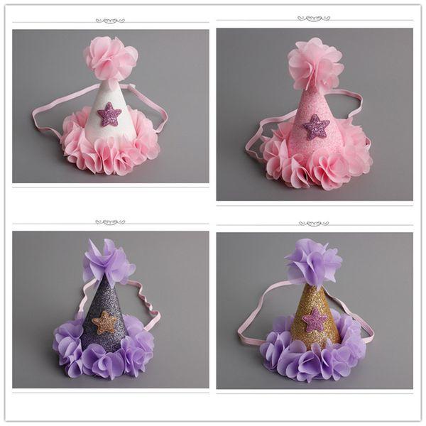 16pcs/lot Handmade Infant Newborn Felt Glitter Crown Flower Headband Star Baby Girls Birthday Party DIY Hat Shape Hair Accessory